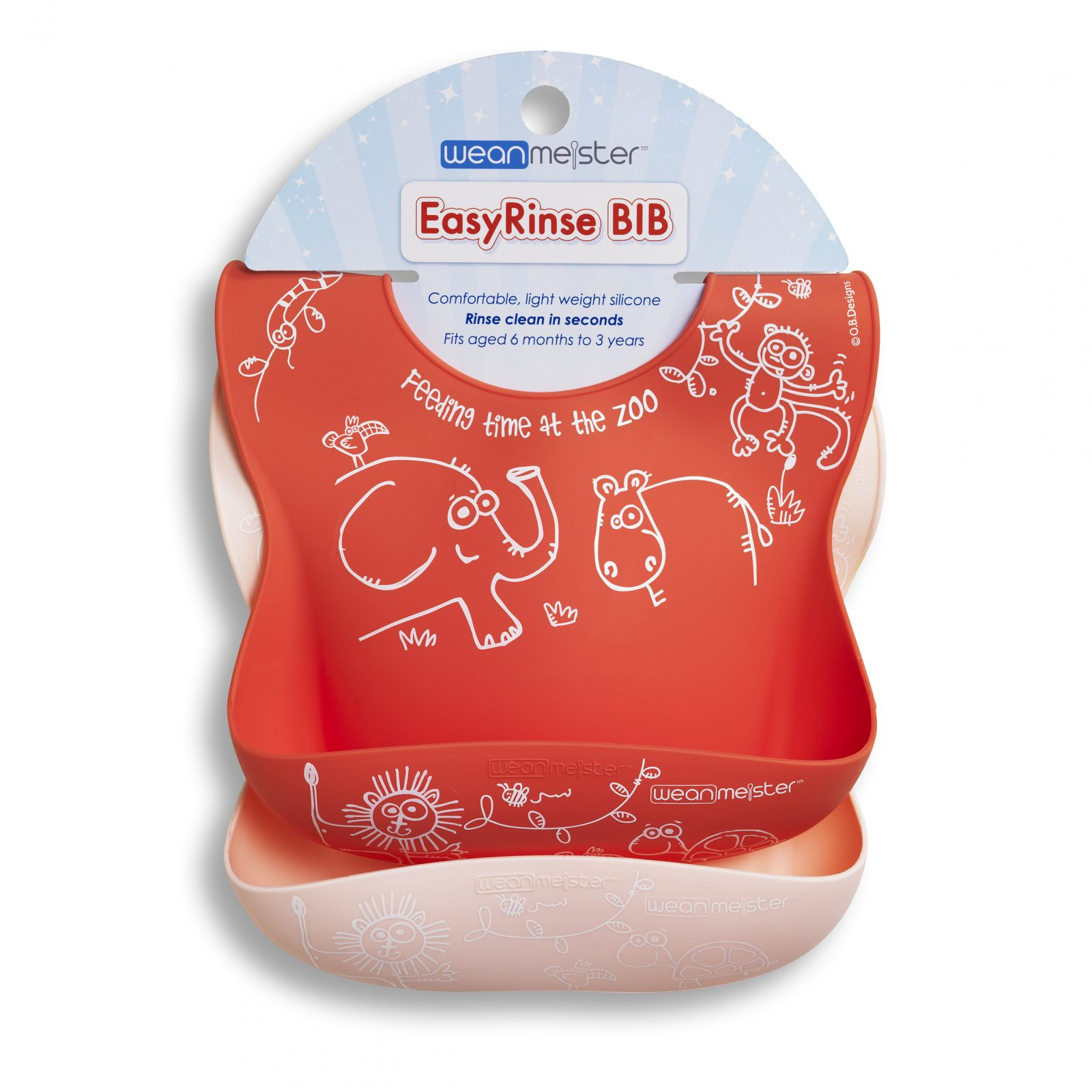WeanMeister - EasyRinse Bib - 2 Pack - Red and Light Pink